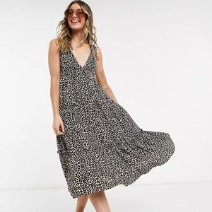 ASOS Design button front tiered midi sundress in leopard print